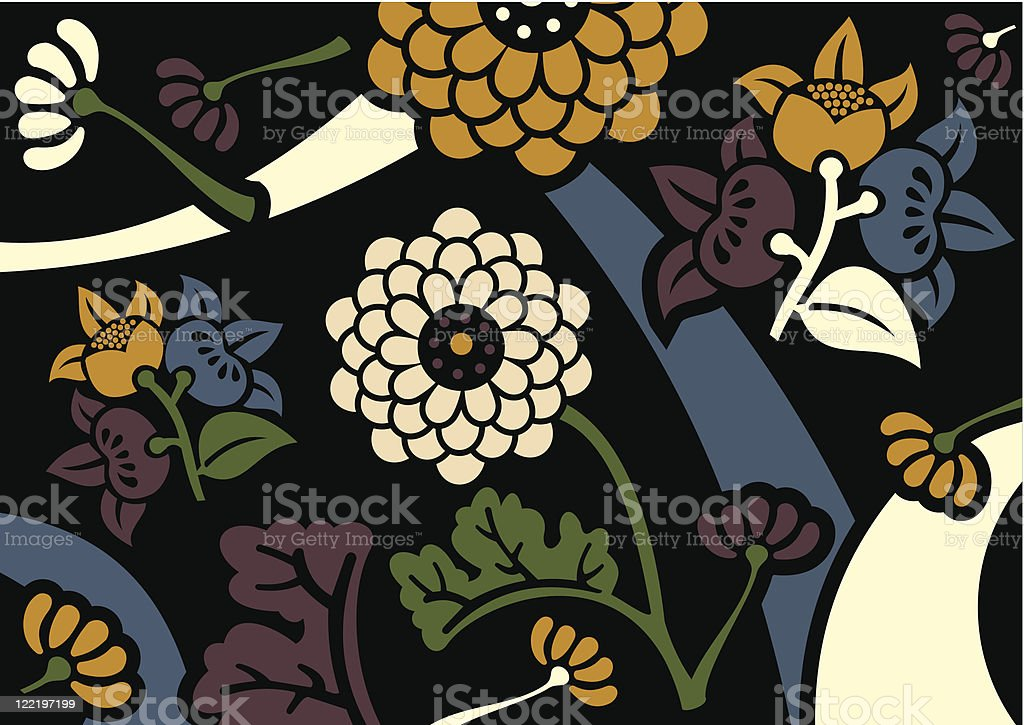 Orient flowers background royalty-free stock vector art