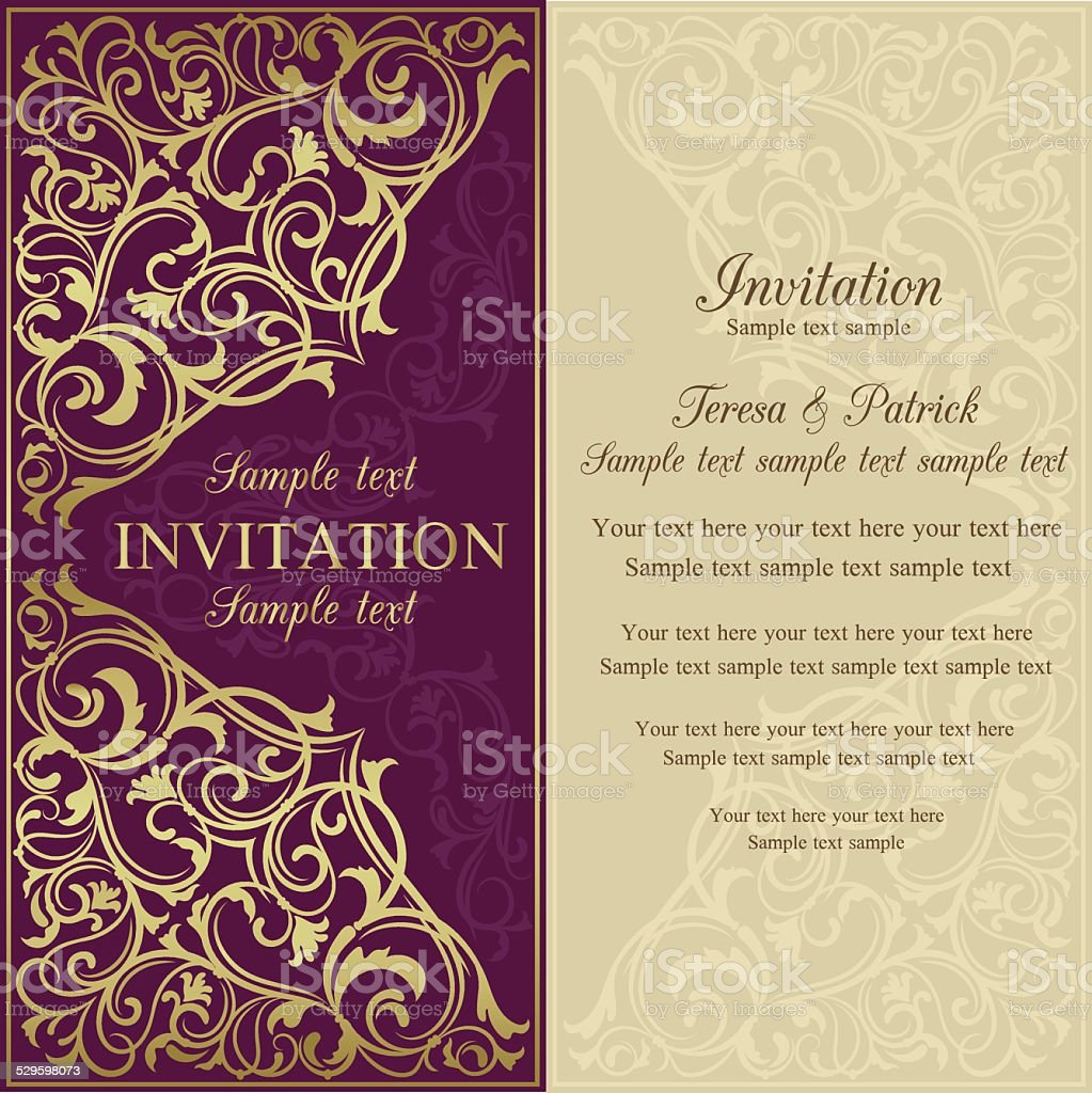 Orient invitation, purple and beige vector art illustration