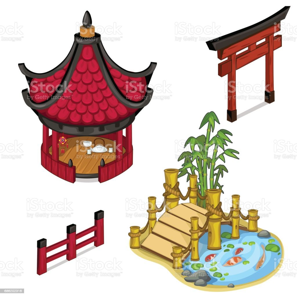 Oriental architecture elements for locations vector art illustration