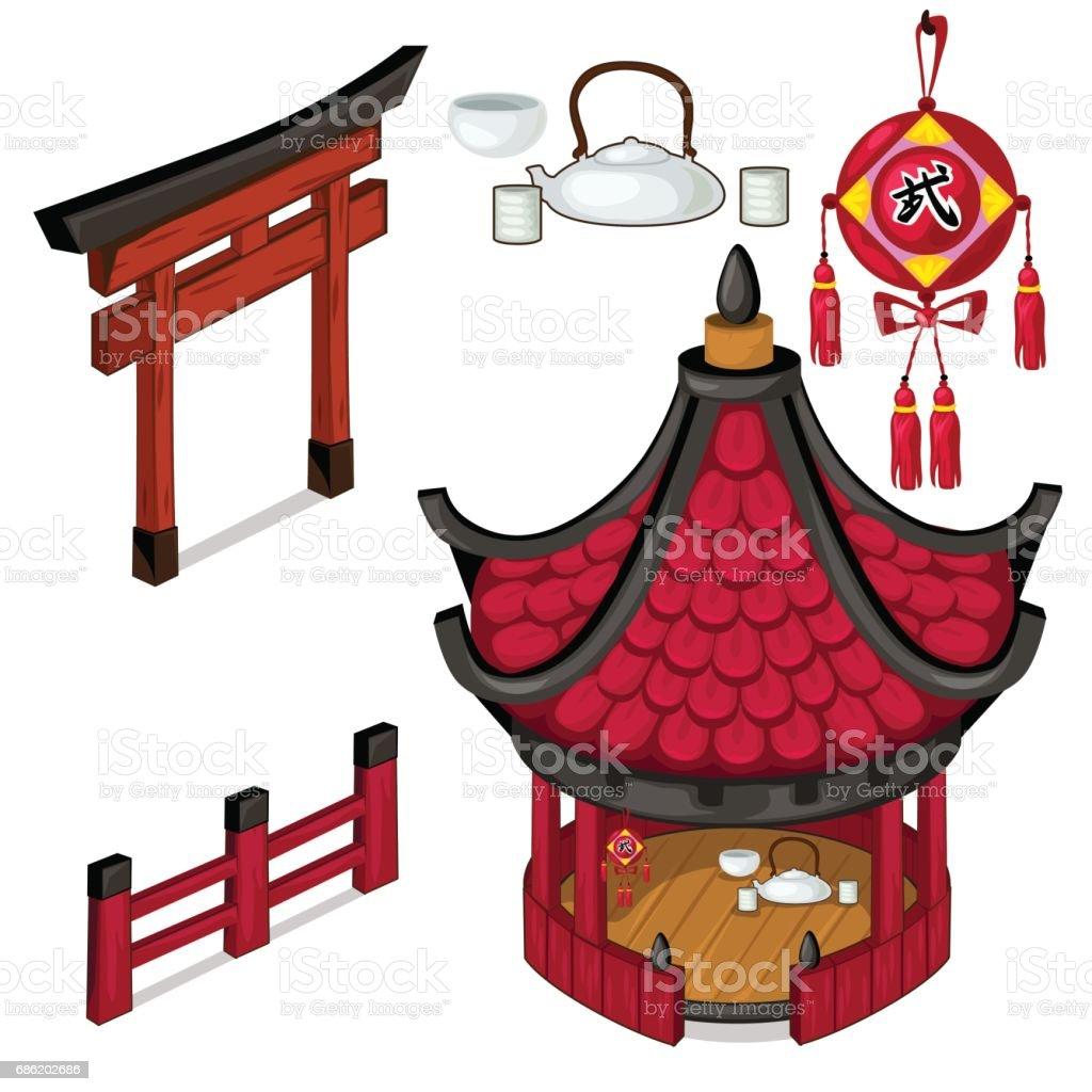 Oriental architecture elements outdoors. Vector vector art illustration