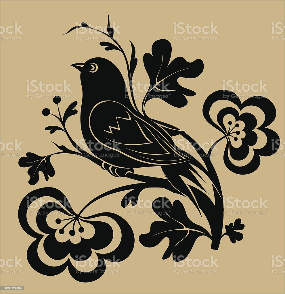 Oriental Bird Silhouette royalty-free stock vector art