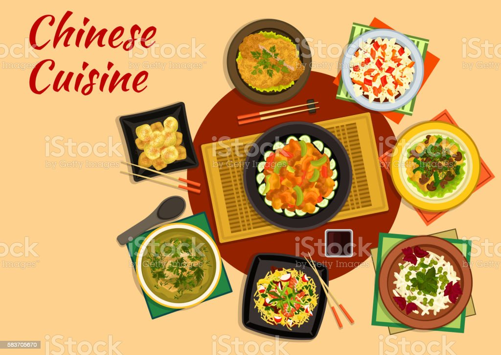 Oriental cuisine dinner with chinese food icon vector art illustration