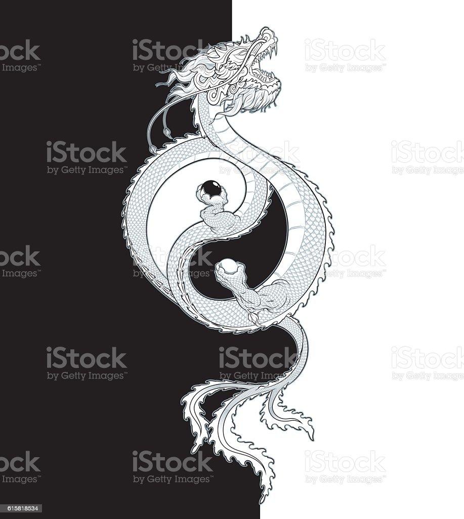 Oriental Dragon Yin-Yang vector art illustration
