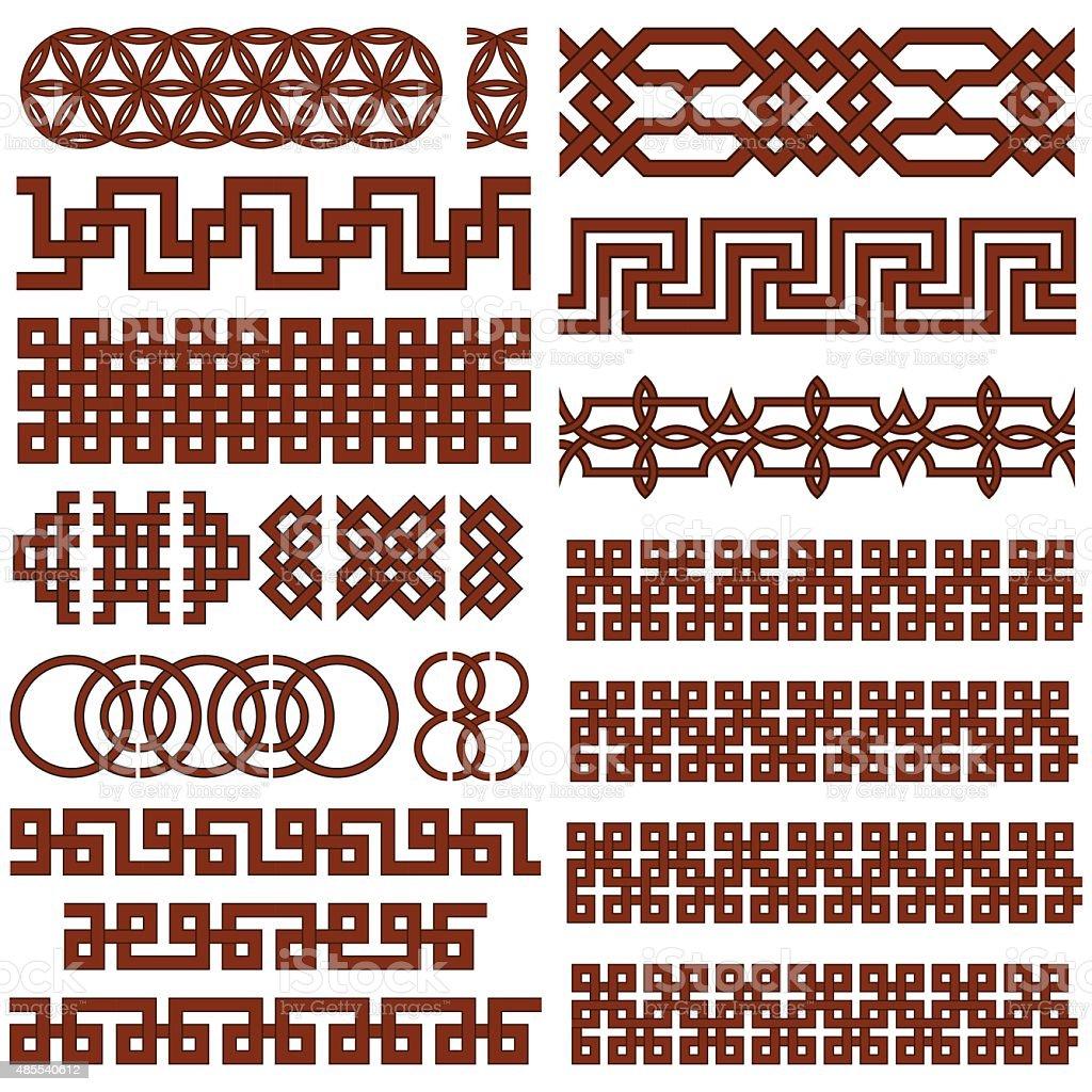 17 Oriental Geometrical Seamless Borders vector art illustration