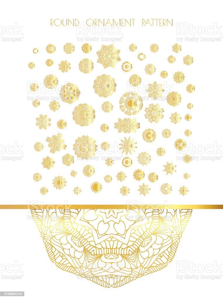 Oriental gold pattern vector art illustration