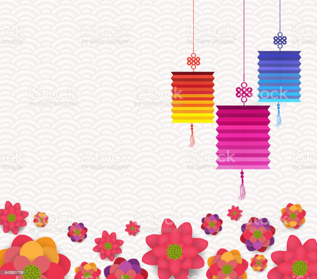 Oriental Happy Chinese New Year Blooming Flowers and lantern Design vector art illustration