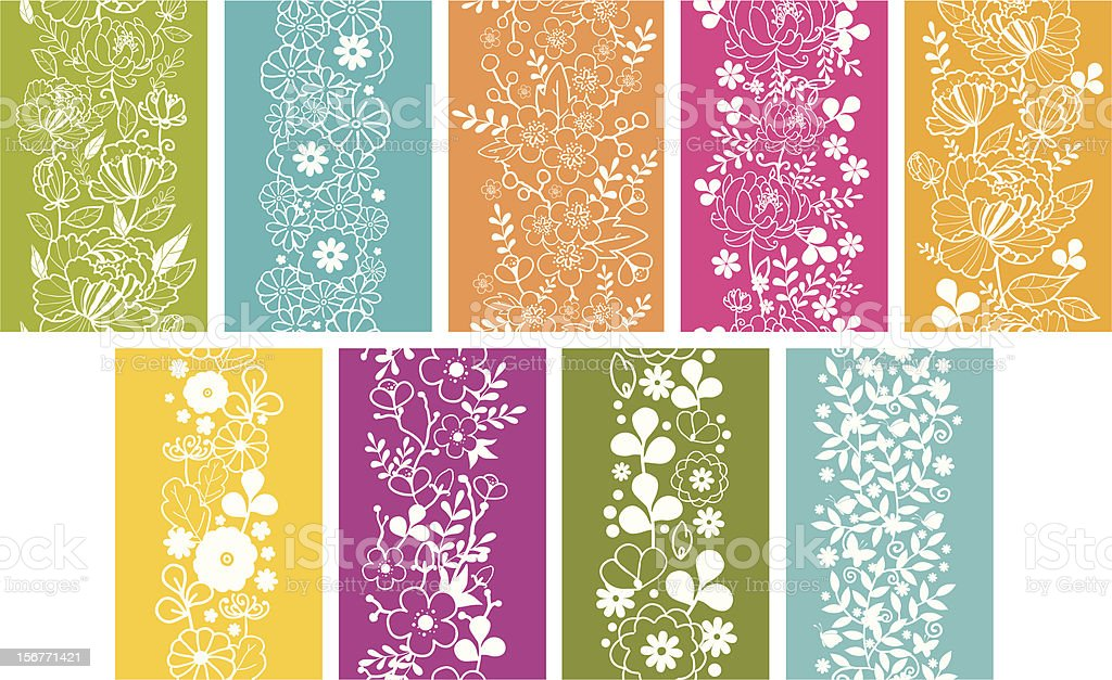 Oriental Kimono Floral Seamless Vertical Patterns Set royalty-free stock vector art