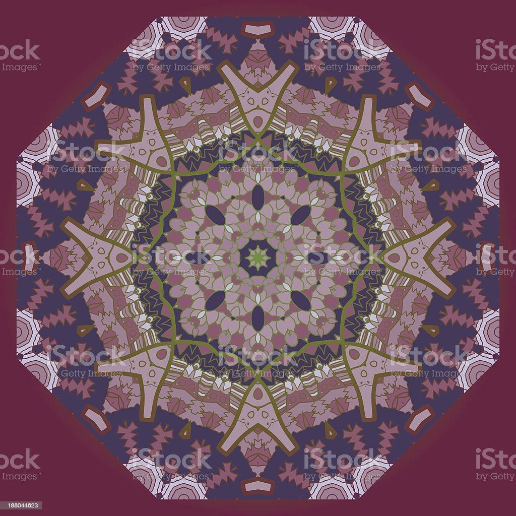 Oriental mandala motif in brown royalty-free stock vector art