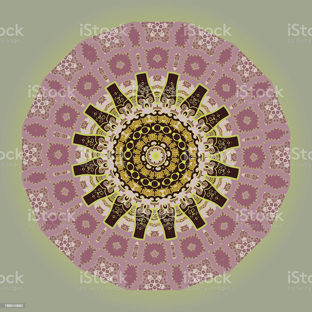Oriental mandala motif in green royalty-free stock vector art