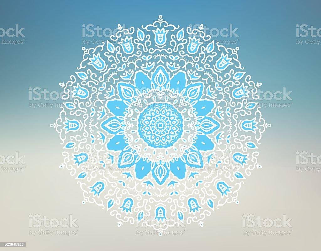 Oriental mandala motif round lace pattern vector art illustration