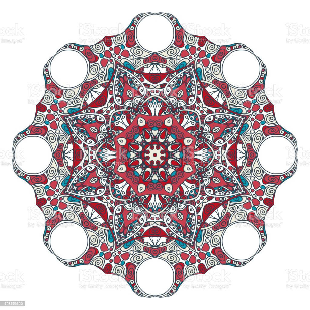 Oriental mandala motif round lase pattern vector art illustration
