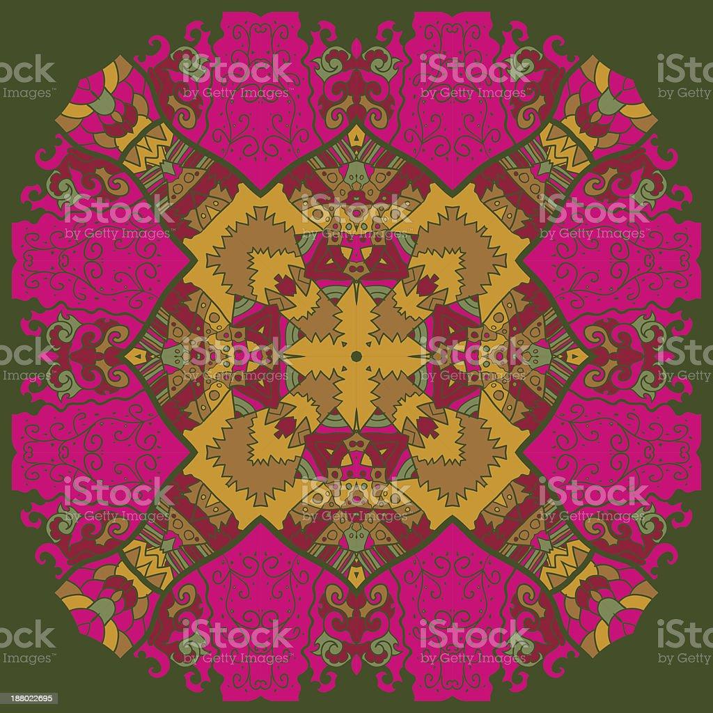 Oriental mandala motif yoga sign royalty-free stock vector art