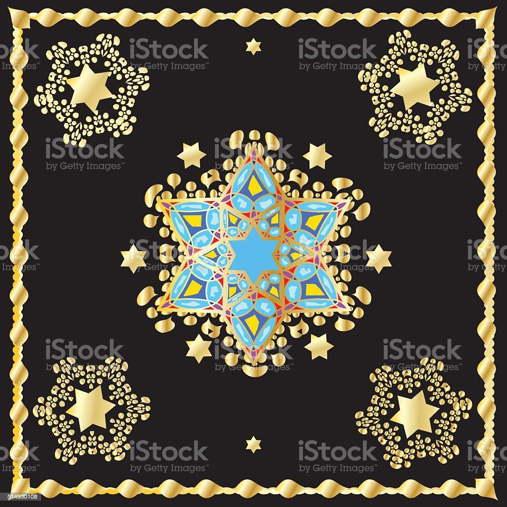 Oriental ornament carpet vector art illustration