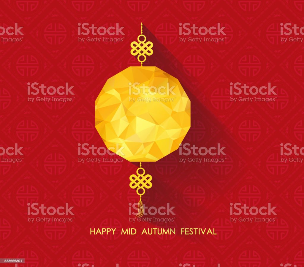 Oriental Paper geometrical lantern. Mid Autumn Festival vector art illustration