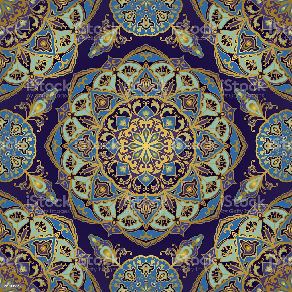 Oriental pattern in blue colors. vector art illustration