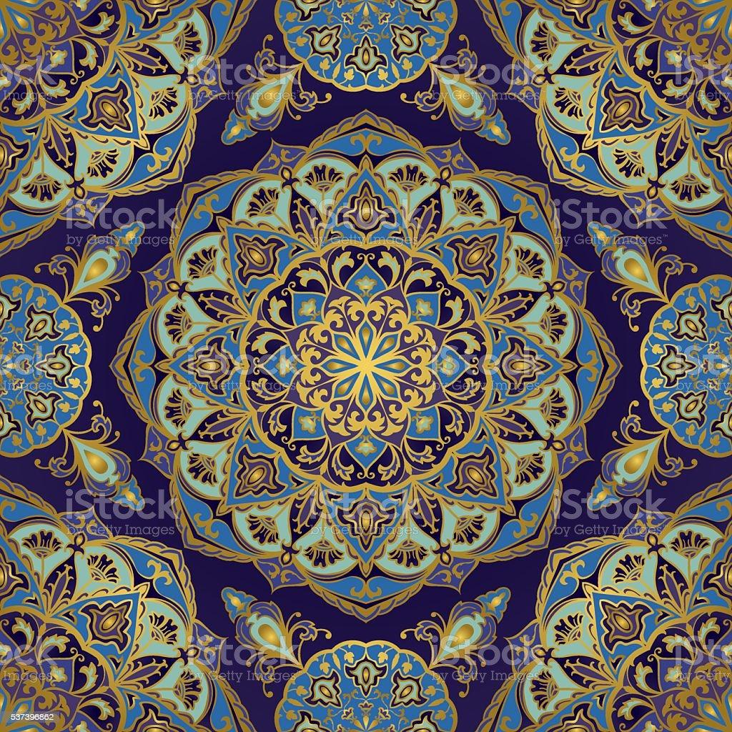 Oriental pattern in blue colors. vector art illustration