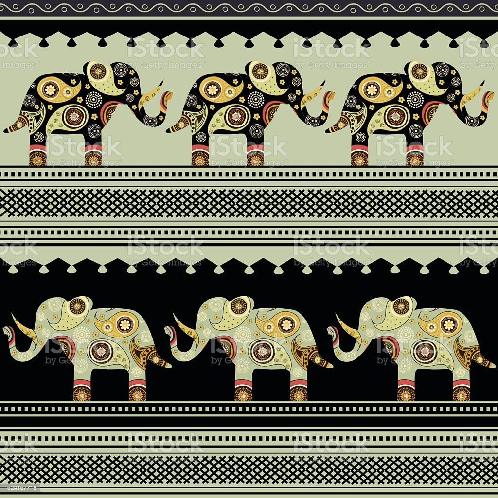 Oriental pattern with elephants vector art illustration