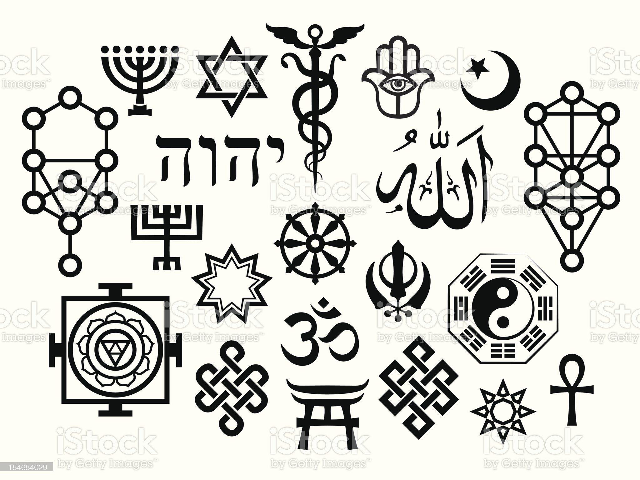 Oriental Sacral Religious Symbols royalty-free stock vector art