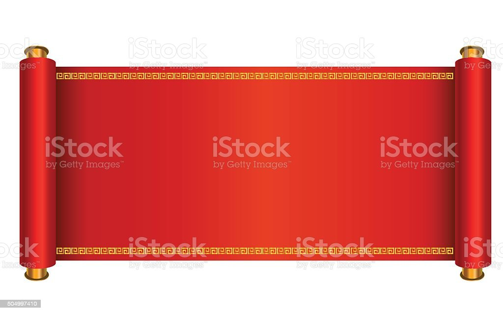 Oriental scroll vector vector art illustration