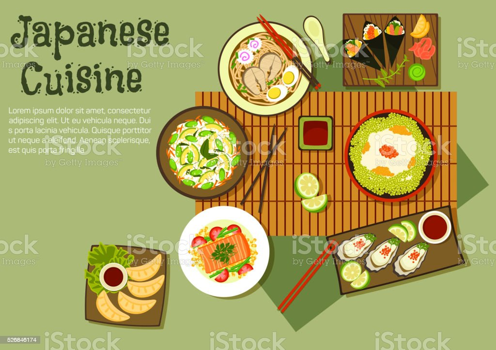 Oriental seafood dishes of japanese cuisine icon vector art illustration