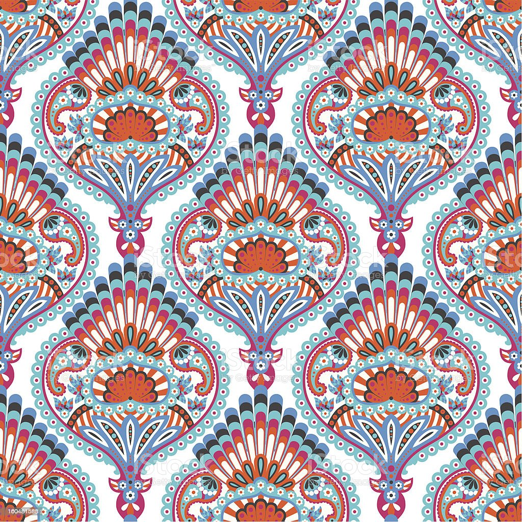 Oriental seamless paisley wallpaper pattern royalty-free stock vector art