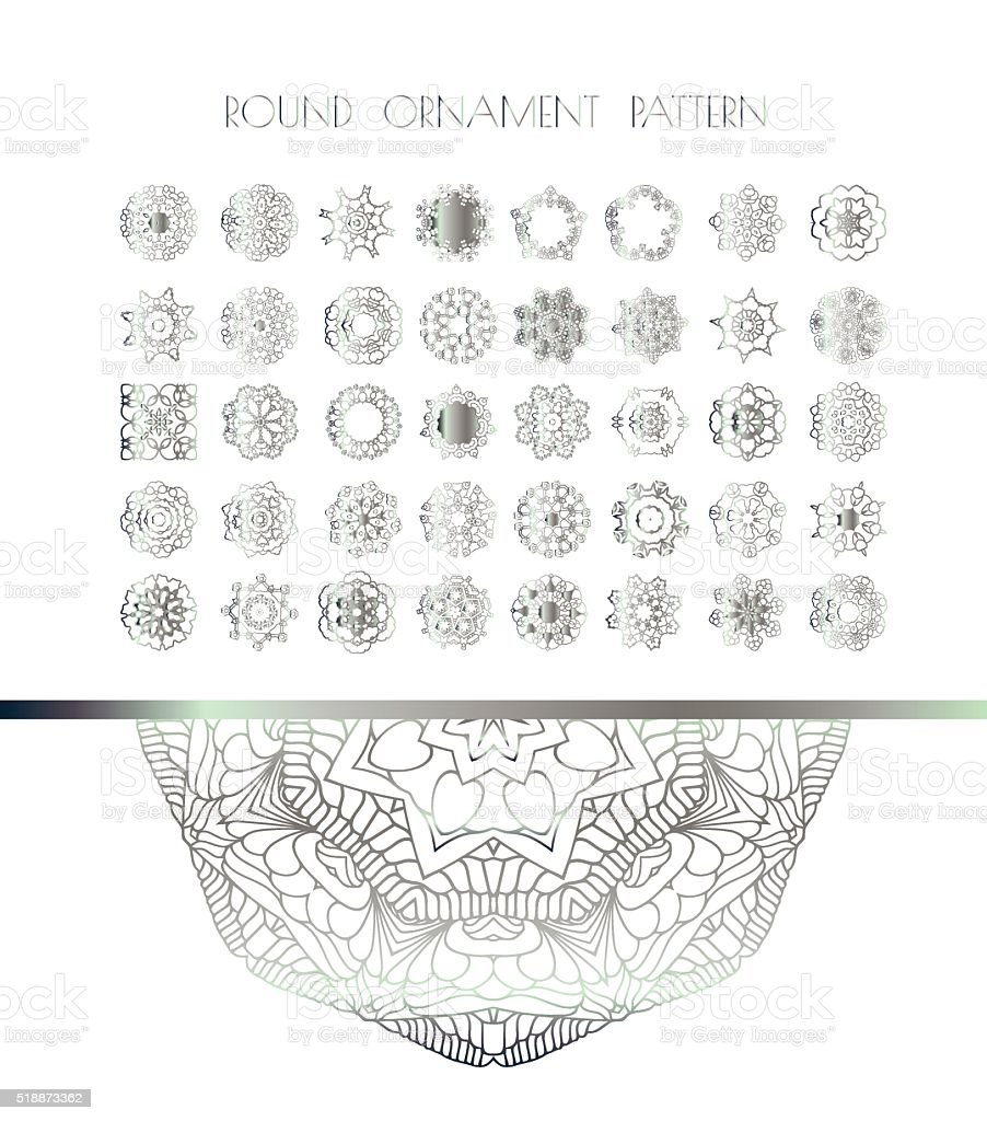 Oriental silver pattern vector art illustration