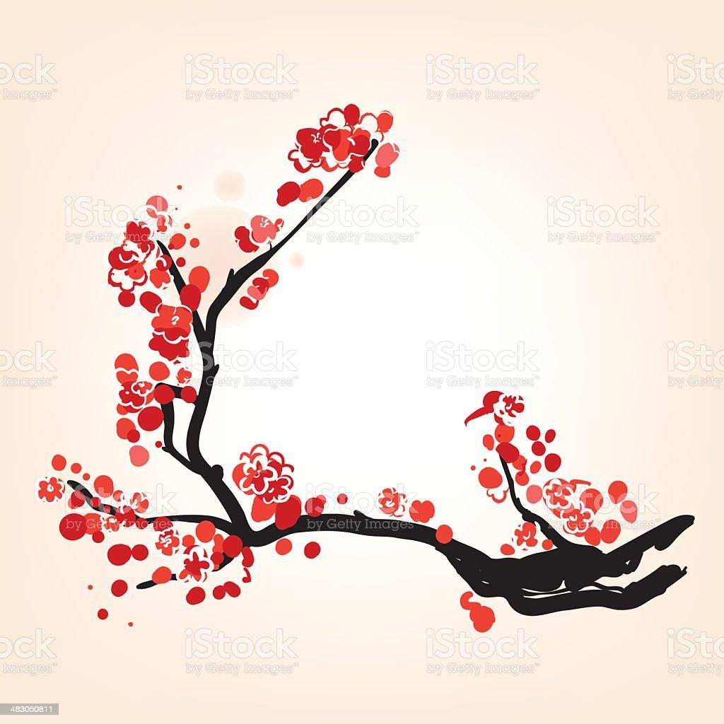Oriental style blossom in spring vector art illustration