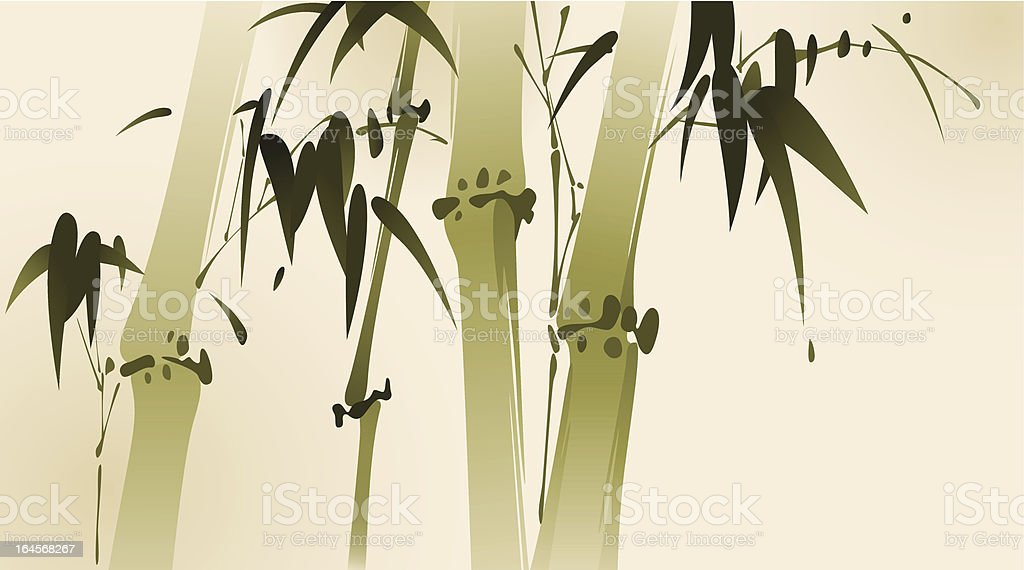 oriental style painting, bamboo branches royalty-free stock vector art