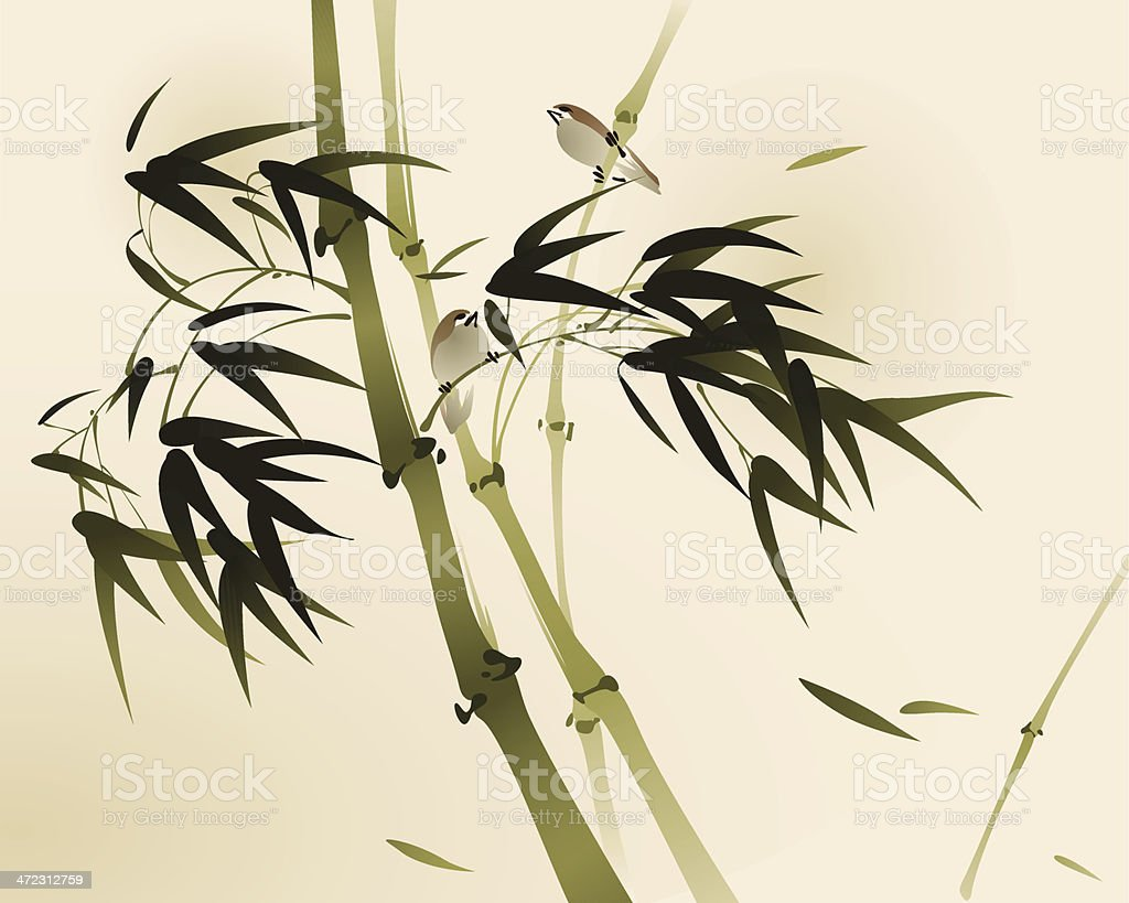 oriental style painting, bamboo branches vector art illustration