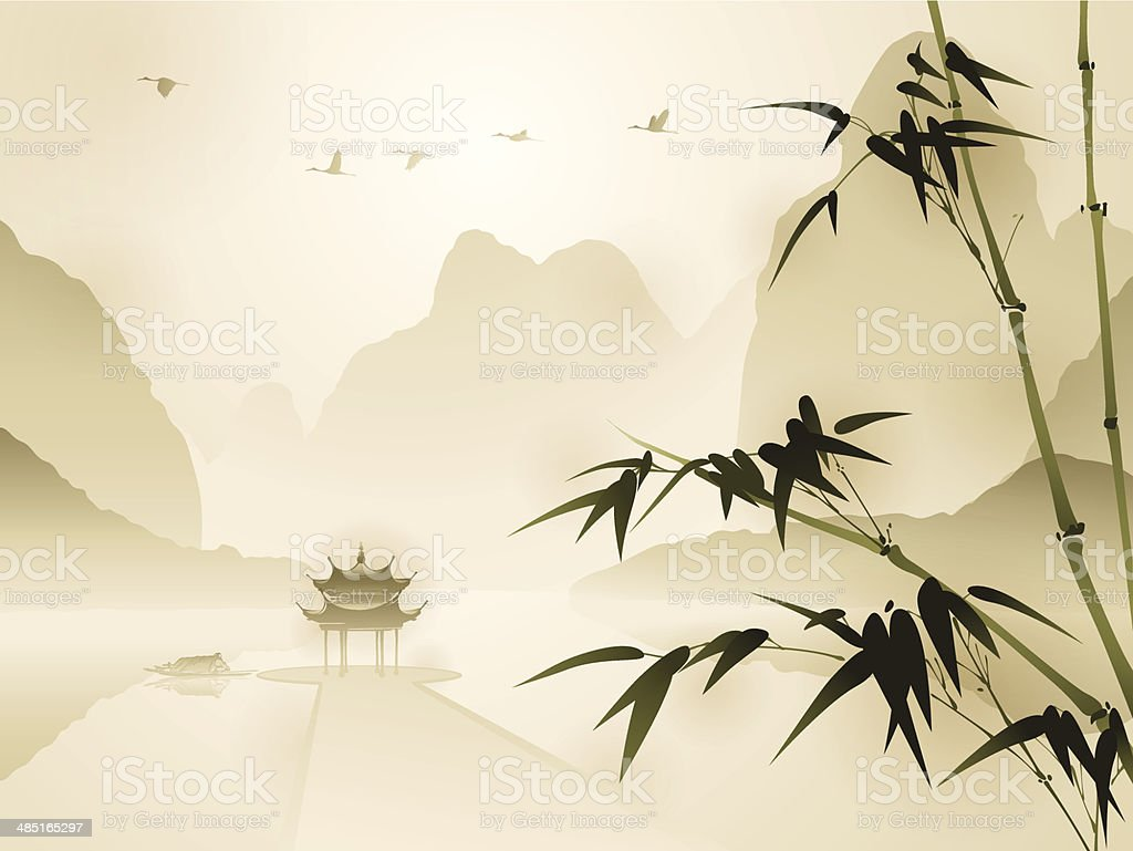 Oriental style painting, Bamboo in tranquil scene vector art illustration
