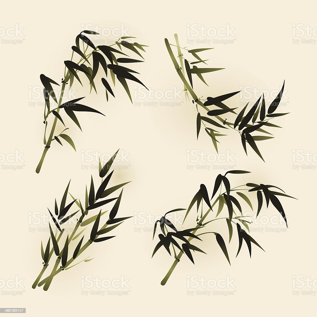 Oriental style painting, bamboo leaves vector art illustration