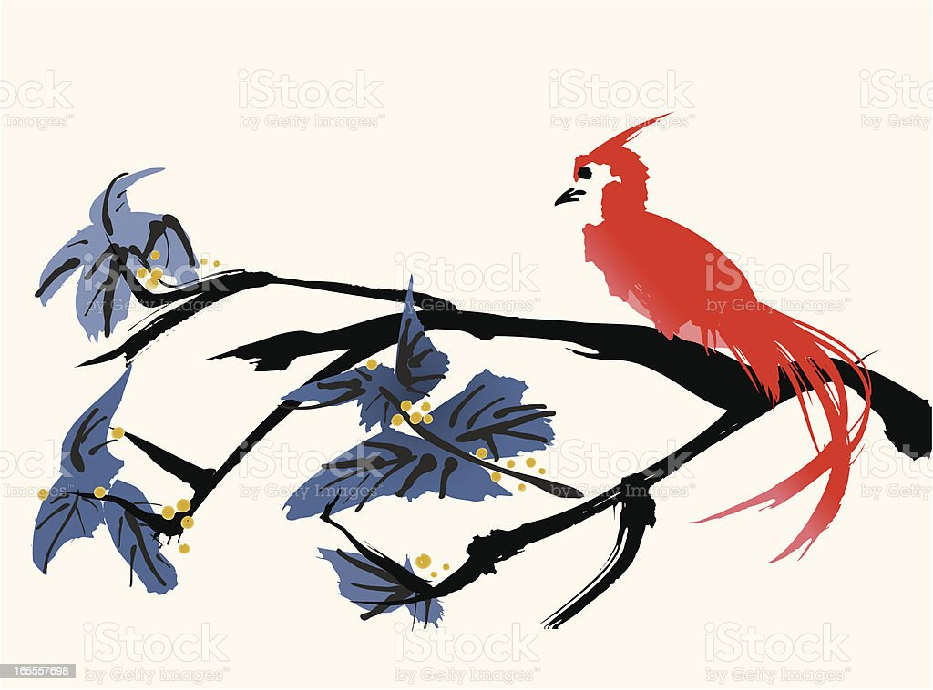 Oriental style painting, Bird, vector illustration vector art illustration