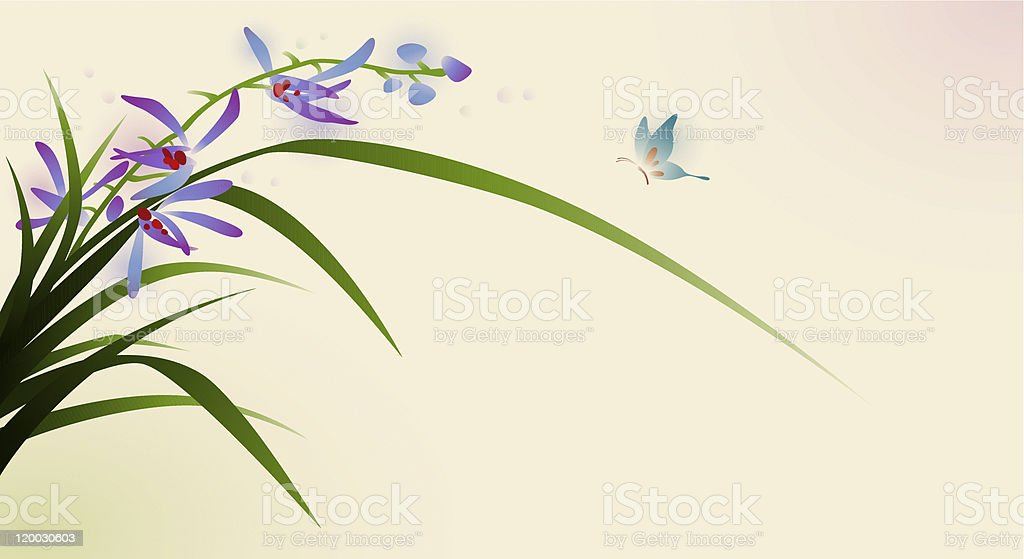 oriental style painting, flowers and butterfly royalty-free stock vector art
