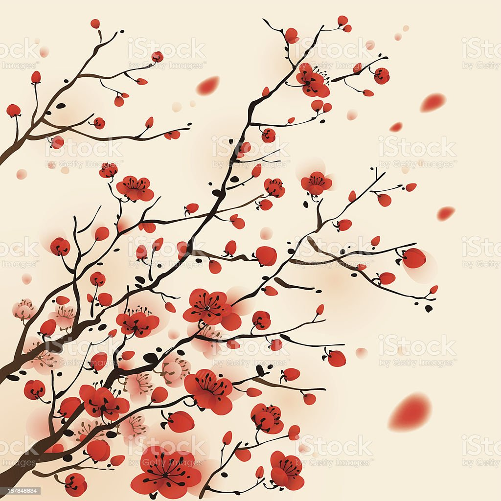 Oriental style painting, plum blossom in spring royalty-free stock vector art