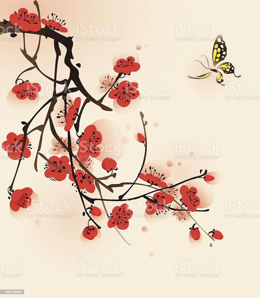 Oriental style painting, plum blossom in spring vector art illustration