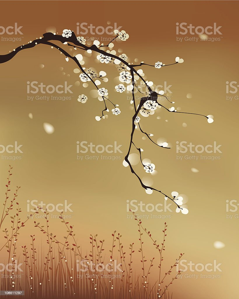 oriental style painting, plum blossom royalty-free stock vector art