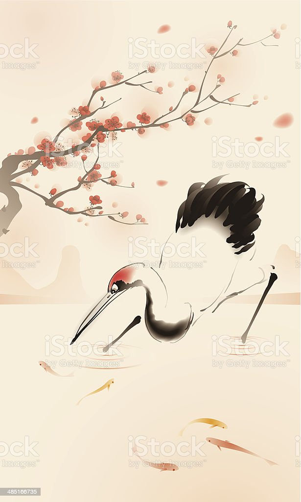 Oriental style painting, Red-crowned Crane royalty-free stock vector art