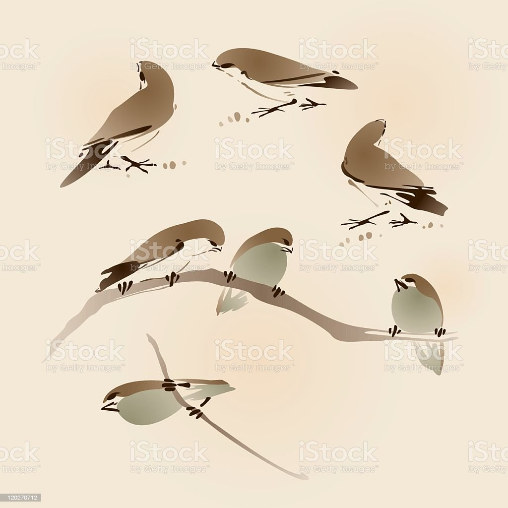 oriental style painting, sparrows royalty-free stock vector art