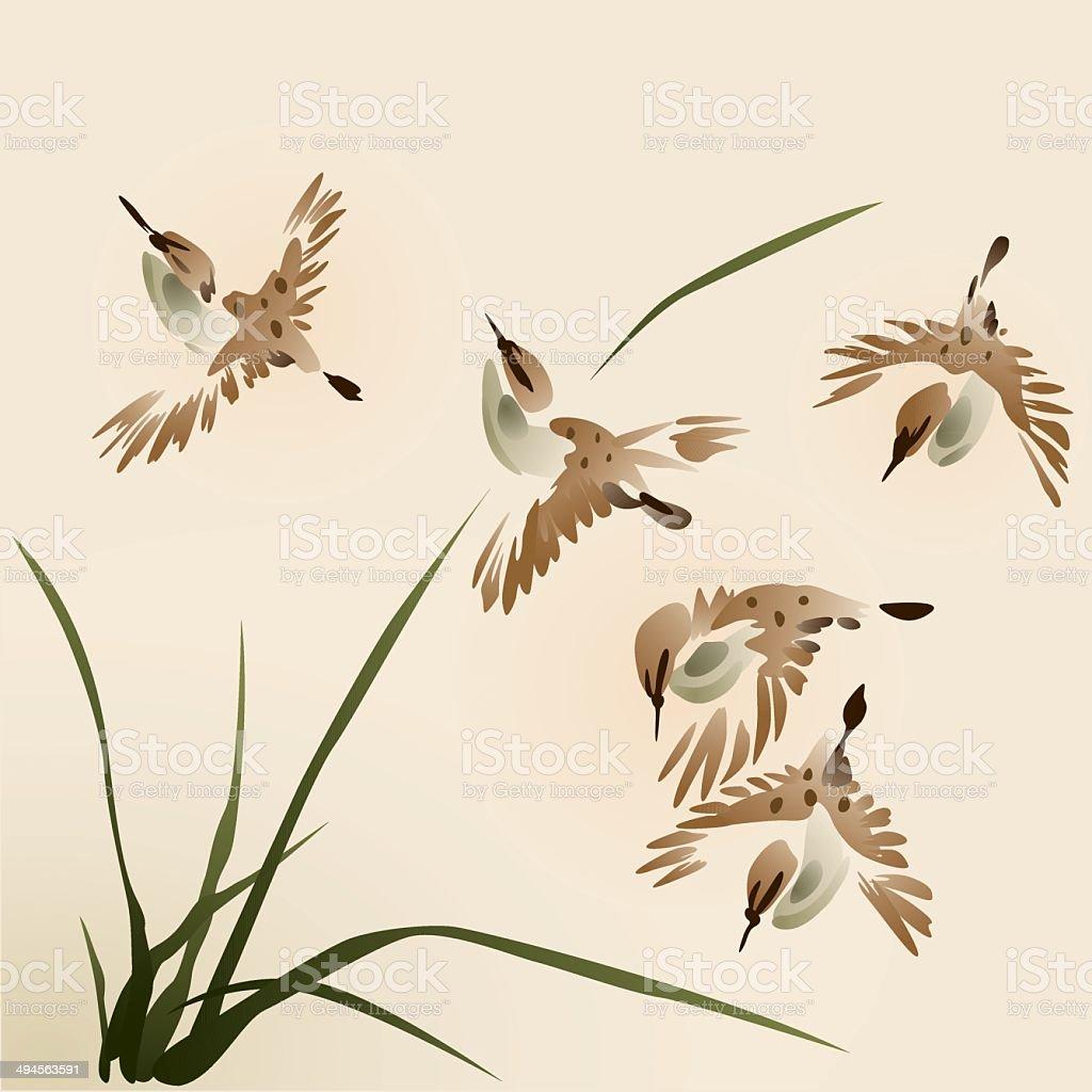 Oriental style painting, sparrows vector art illustration