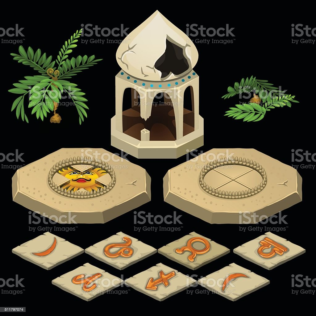 Oriental theme with gazebo and signs of the zodiac vector art illustration