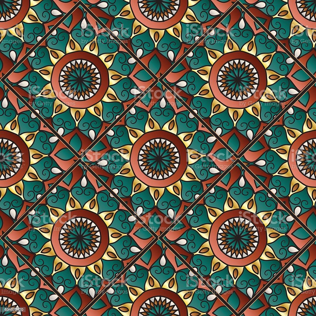 oriental tile seamless pattern vector art illustration
