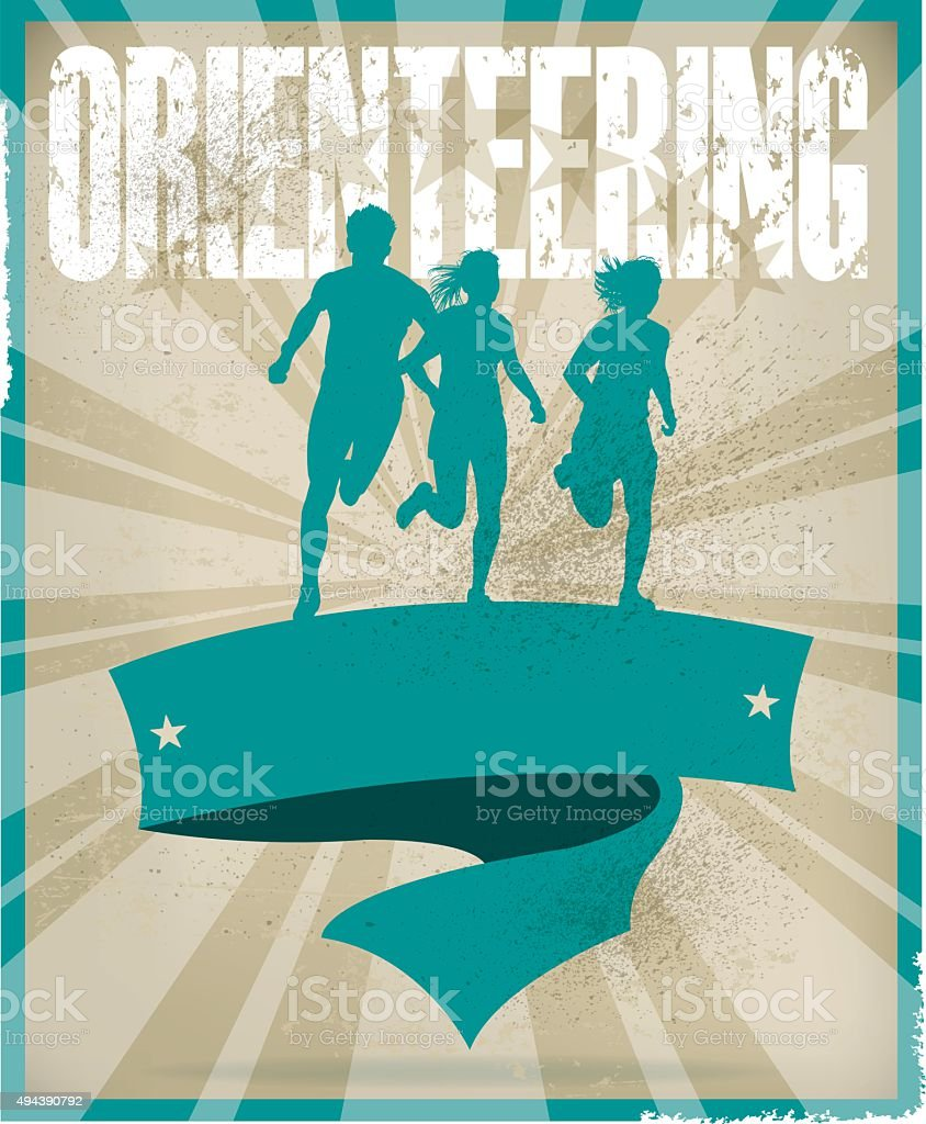 Orienteering Banner Background, Track Event vector art illustration