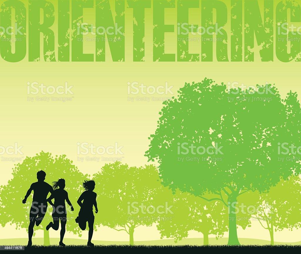 Orienteering Park Background, Track Event vector art illustration