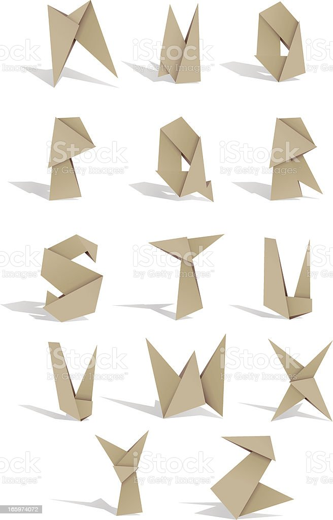 origami alphabet 2 royalty-free stock vector art