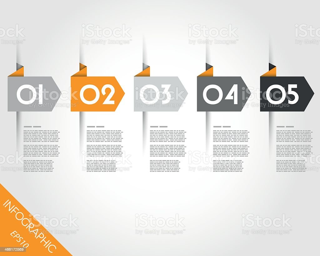 Origami arrows with number two in orange vector art illustration
