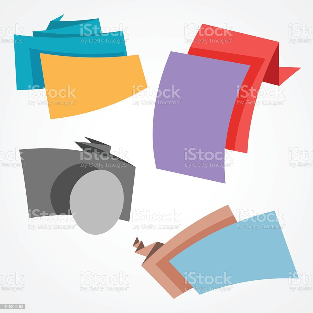 Origami banners and ribbons vector art illustration