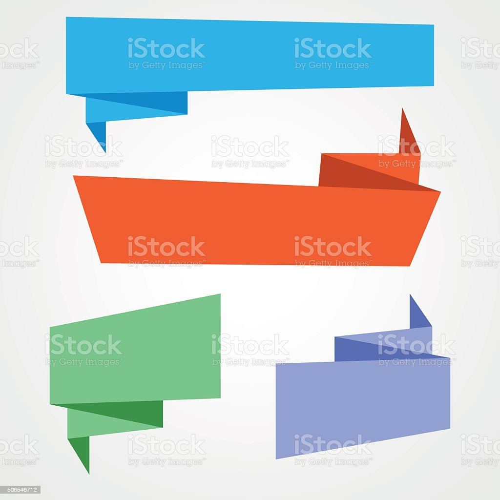 Origami banners vector art illustration