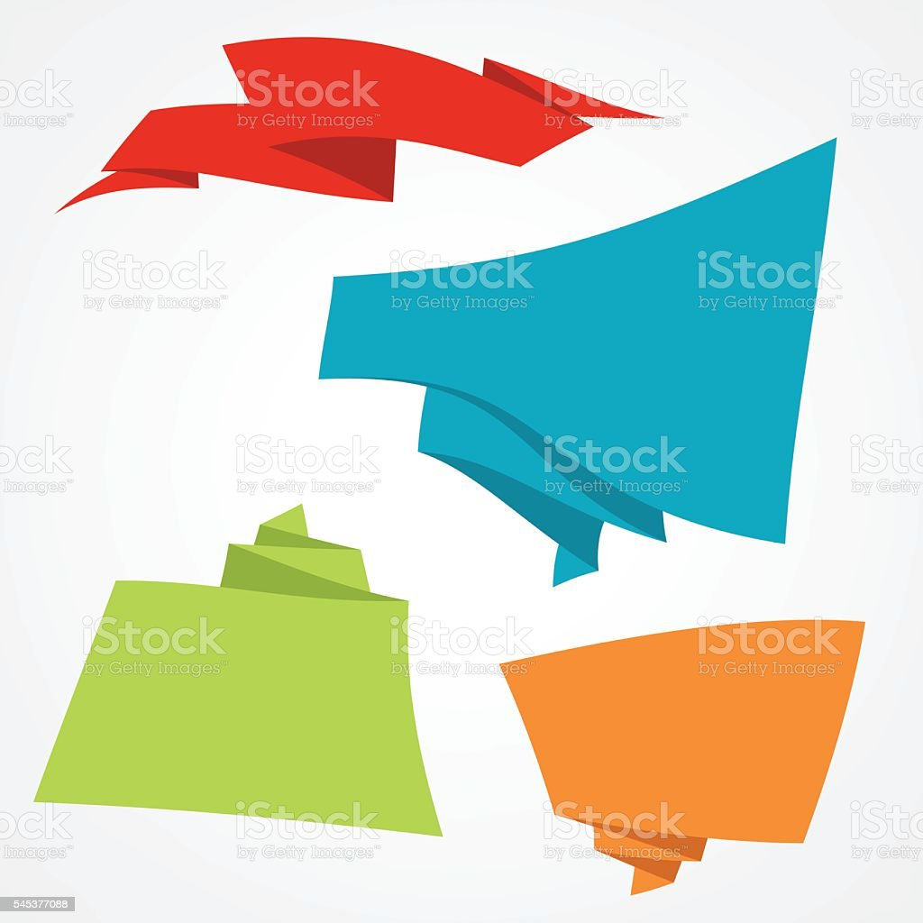 Origami banners vector art illustration
