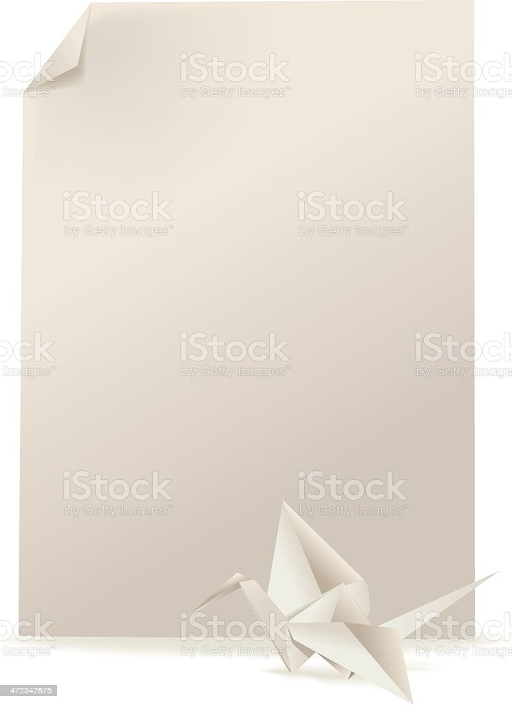 Origami bird and paper page royalty-free stock vector art