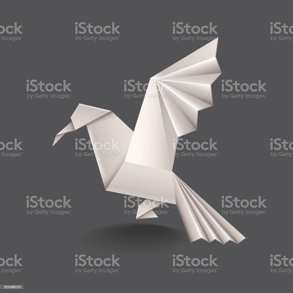 Origami bird isolated on dark vector vector art illustration